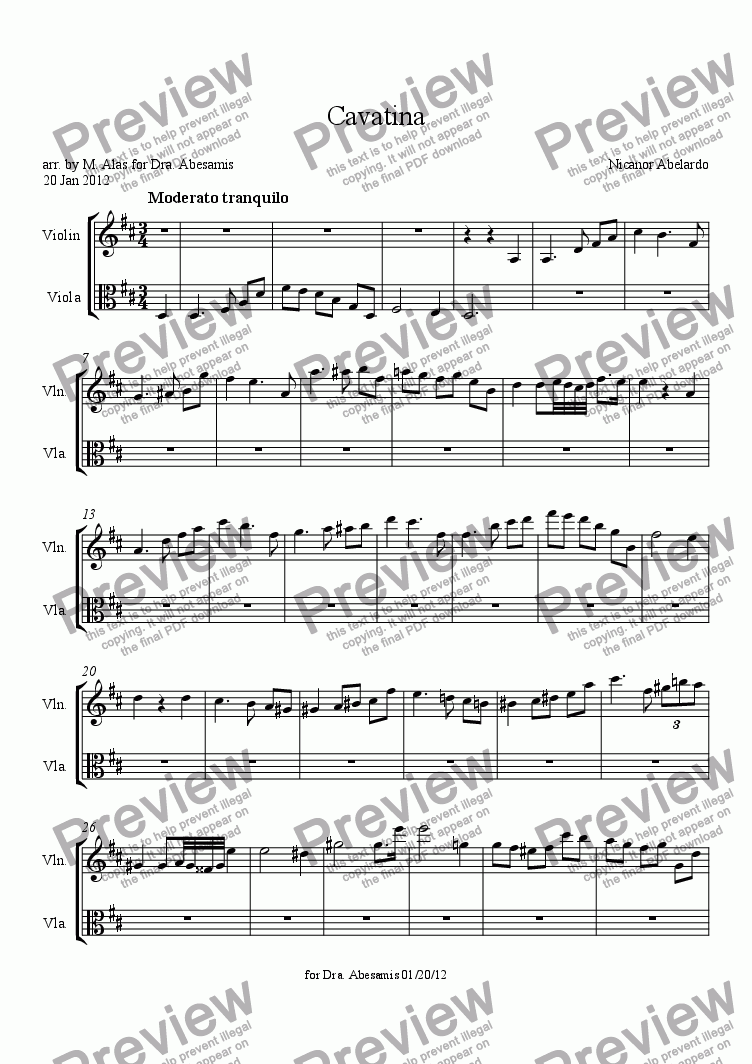 page one of Cavatina
