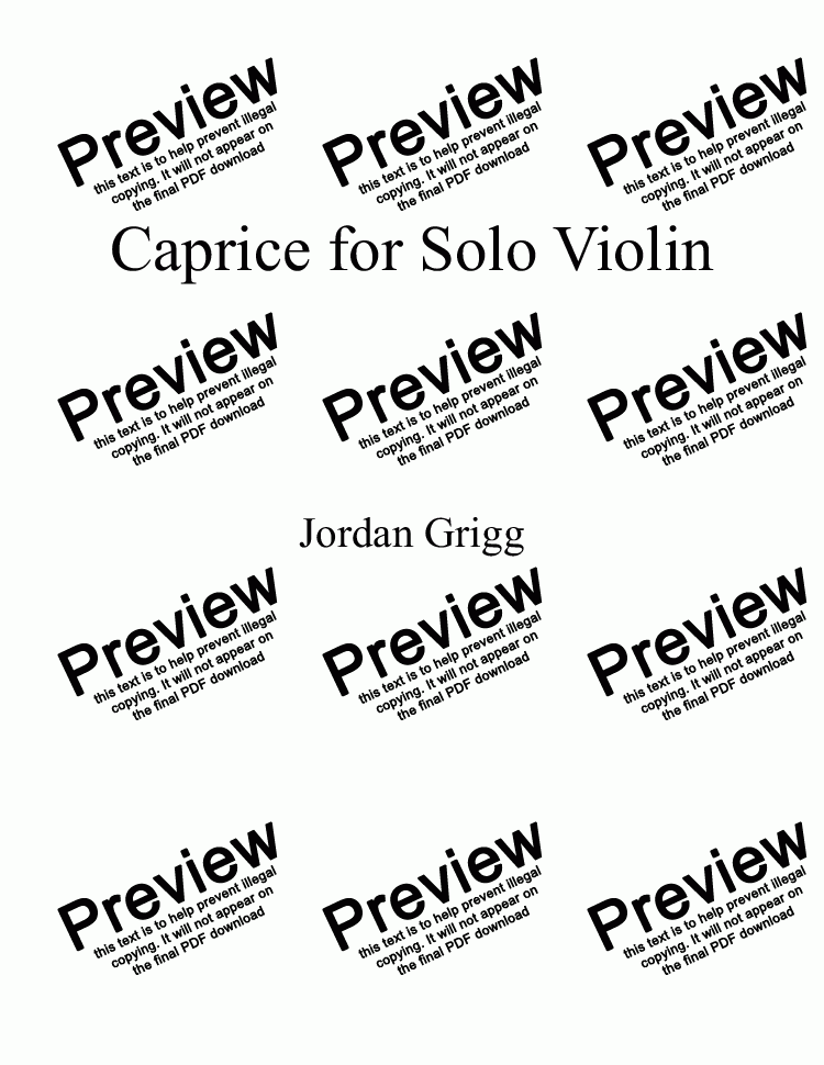 page one of Caprice for Solo Violin
