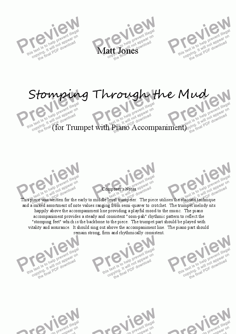 page one of Stomping Through the Mud - Trumpet with Piano Accompaniment