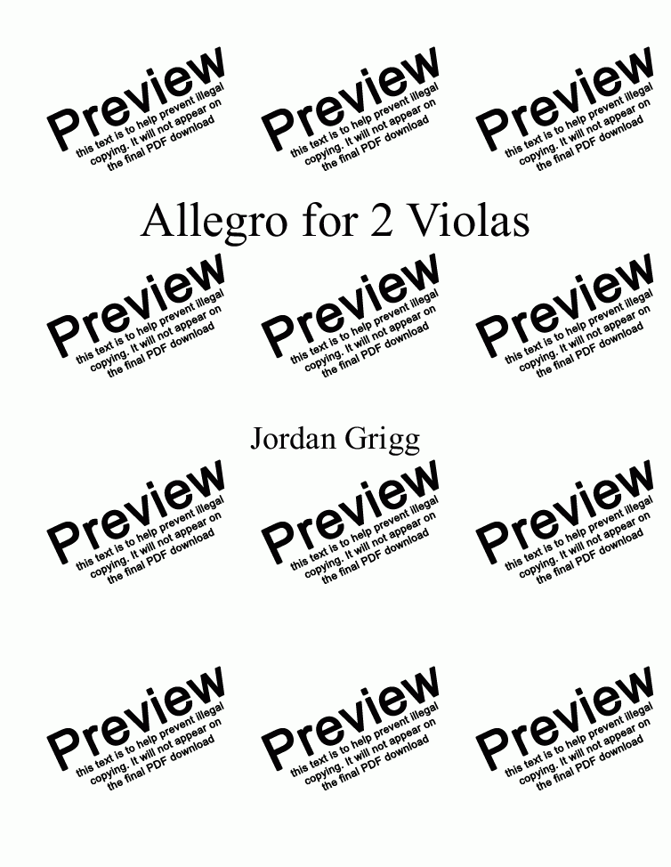 page one of Allegro for 2 Violas