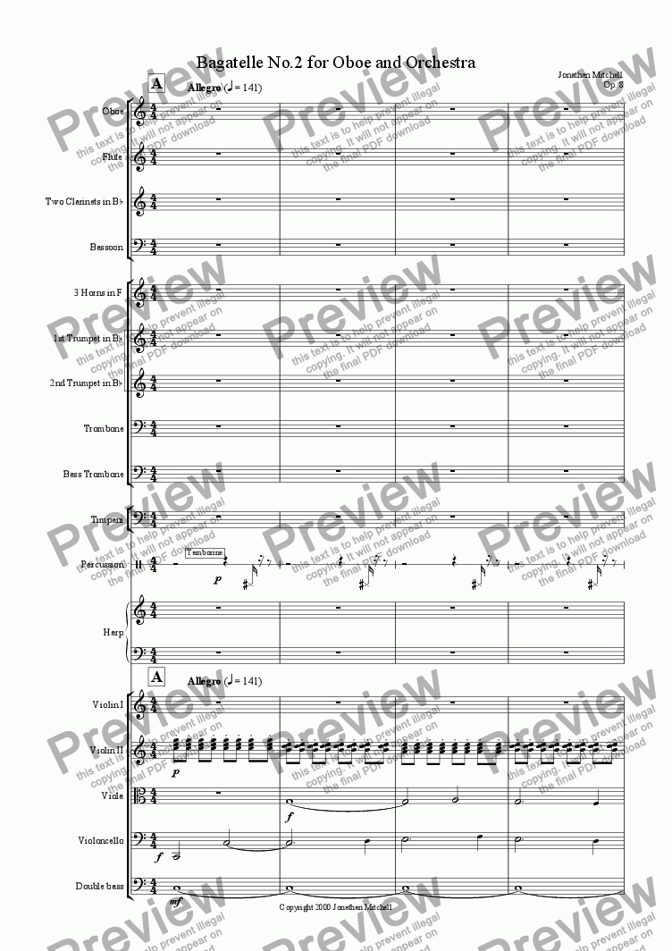 page one of Bagatelle No.2 for Oboe and Orchestra