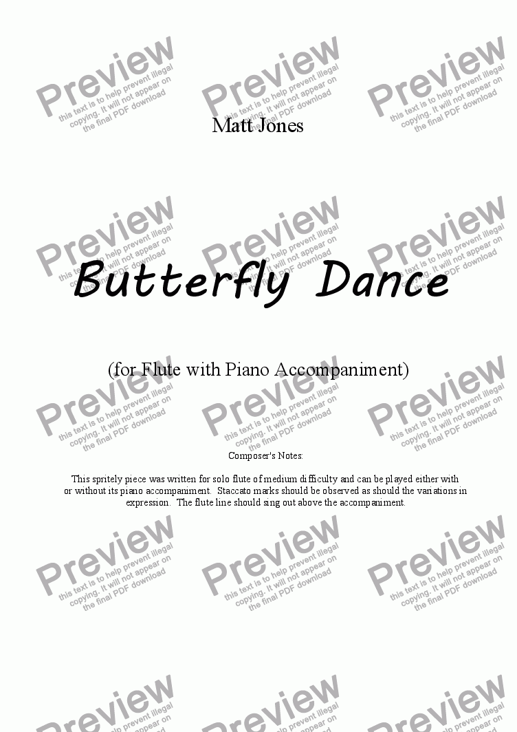 page one of Butterfly Dance - Flute with Piano Accompaniment