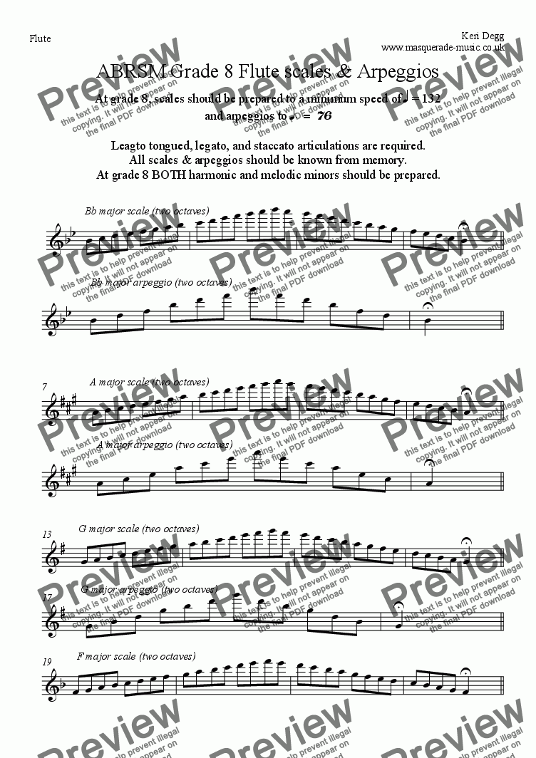 page one of ABRSM Grade 8 Flute scales & ArpeggiosASALTTEXT