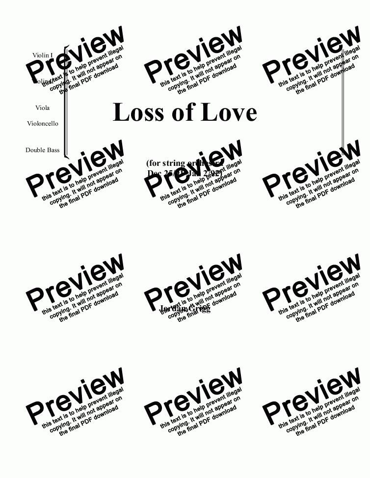 page one of Loss of Love  (for string orchestra)