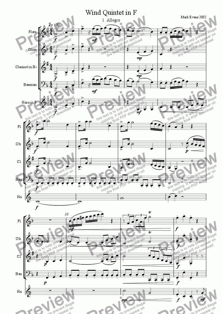 page one of Wind Quintet in F
