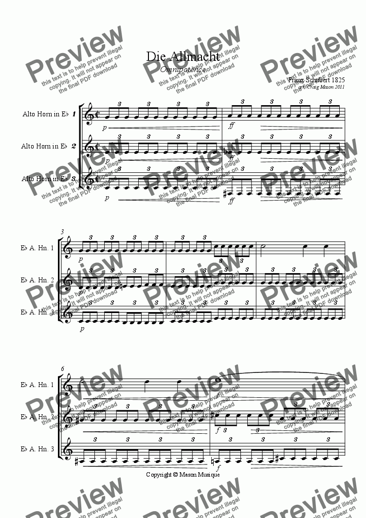 page one of Die Allmacht-Eb Alto Horns