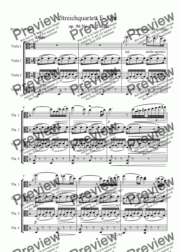 page one of Dvorak: American string quartet op. 96- 2. mvt for viola quartet