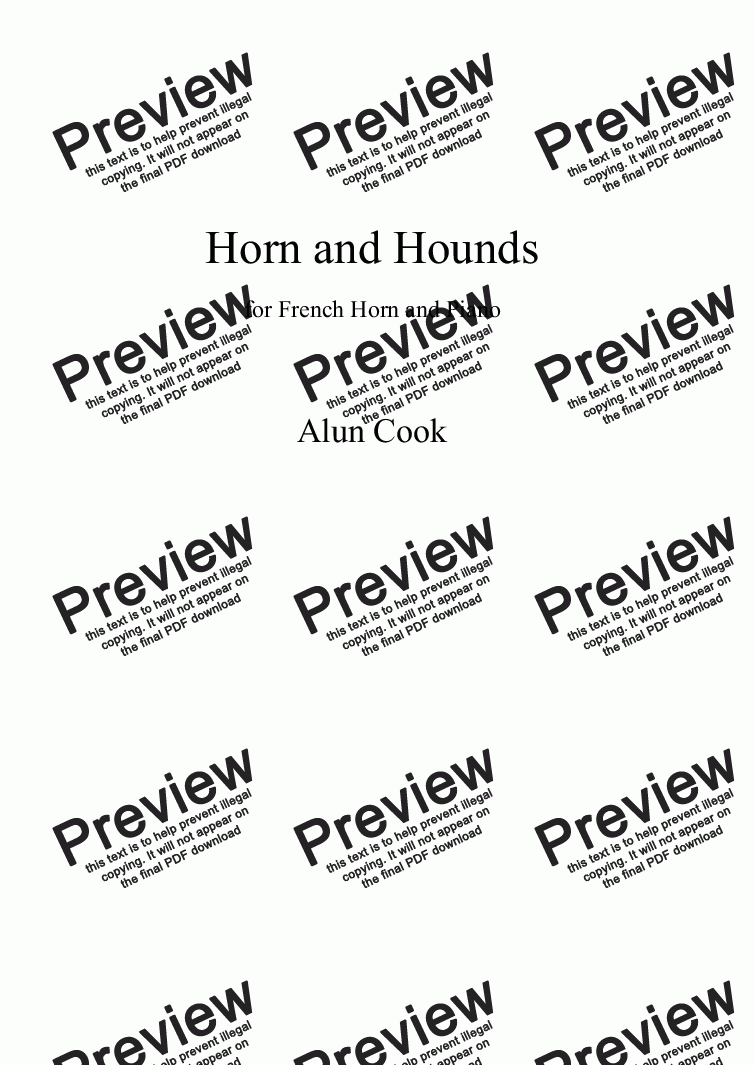 page one of Horn and Hounds (French Horn and Piano)