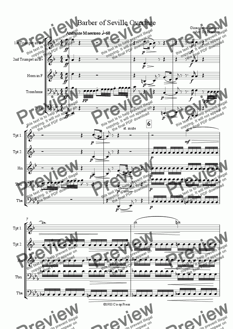 page one of Barber of Seville Overture