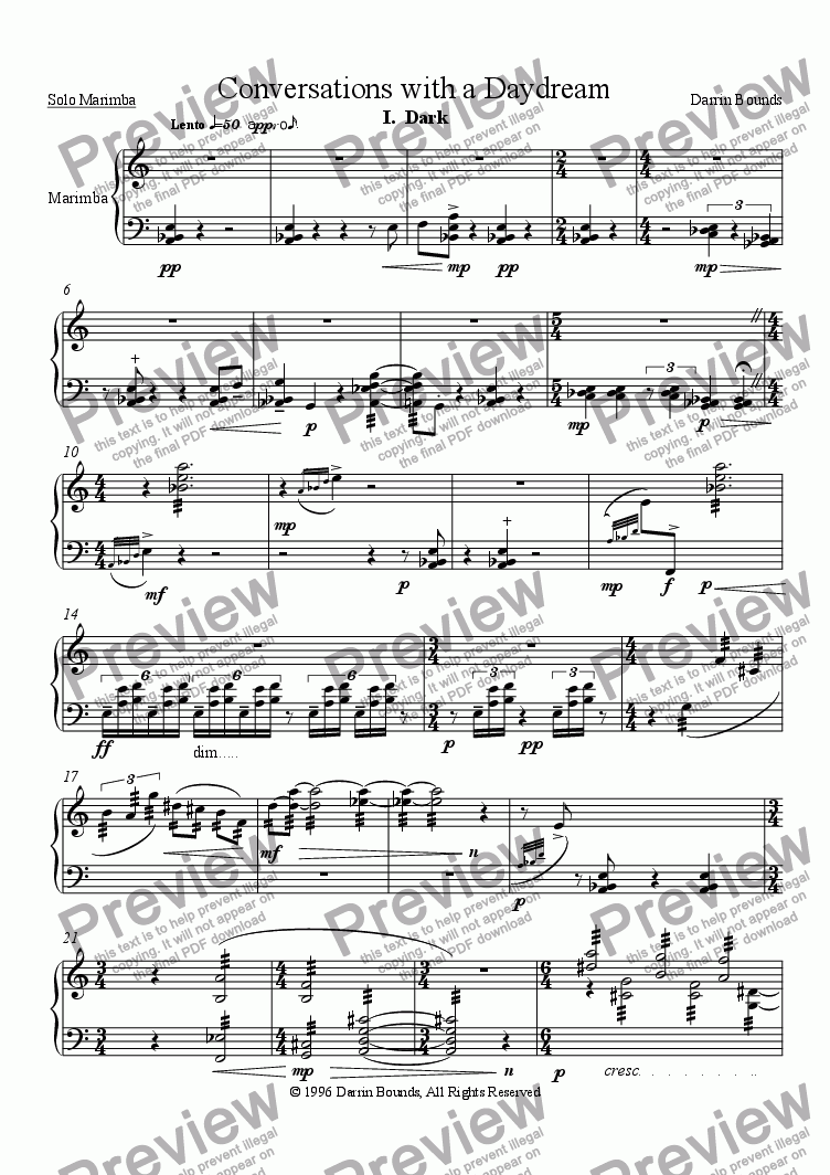 page one of Conversations with a Daydream (for solo marimba)