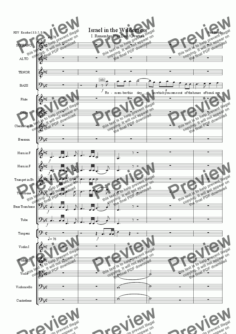 page one of 01 Israel in the Wilderness - Overture