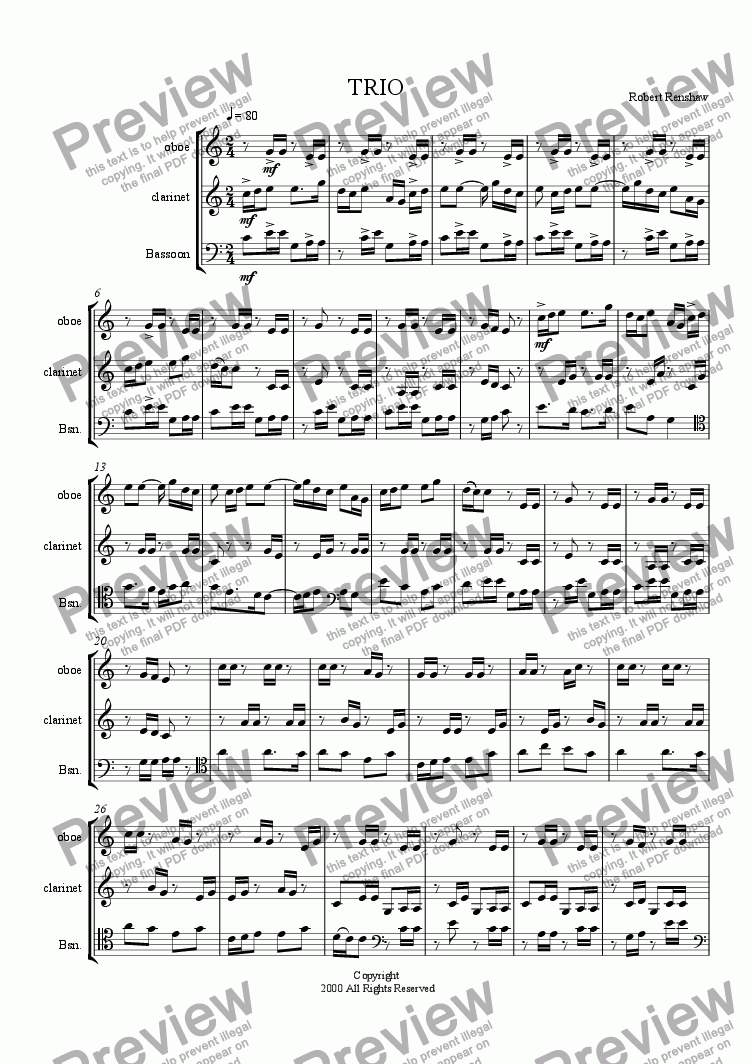 page one of TRIO for Winds (ob, cl, bsn)