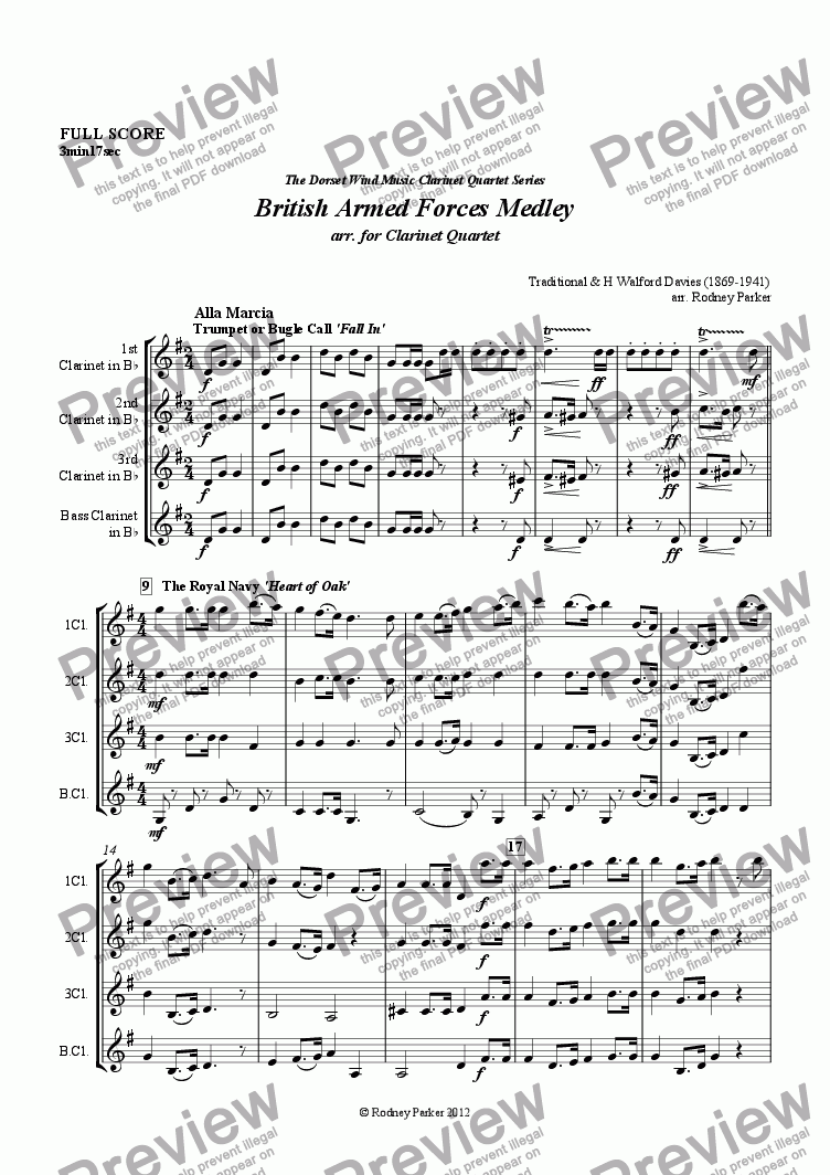 page one of British Armed Forces Medley