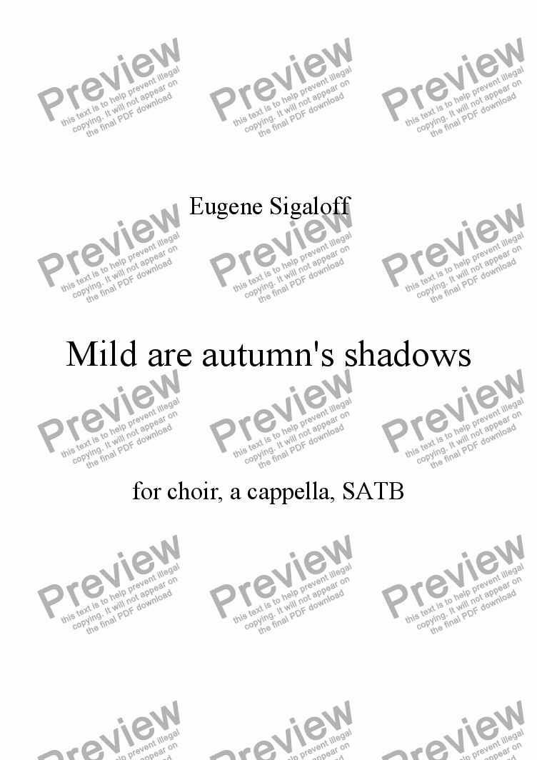 page one of Mild are autumn's shadows