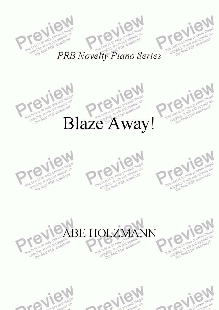 page one of PRB Novelty Piano Series: Blaze-Away!