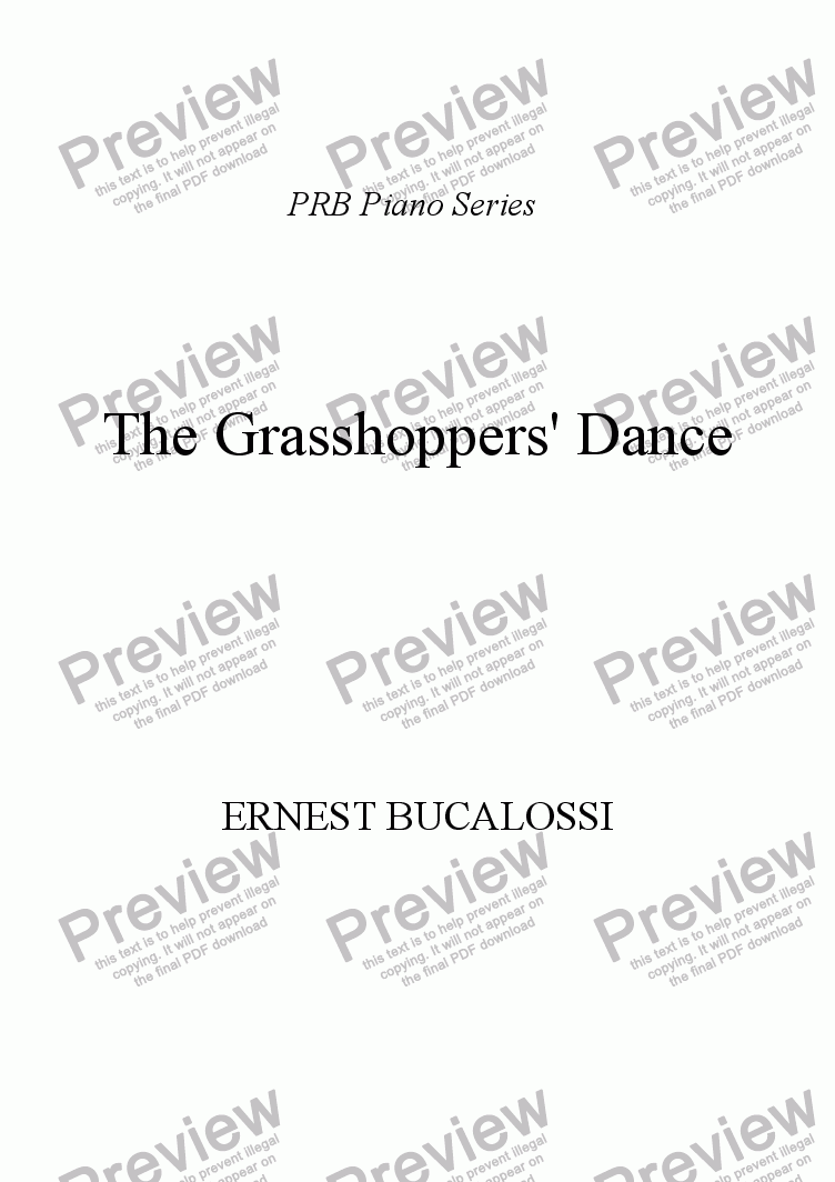 page one of PRB Novelty Piano Series: The Grasshoppers' Dance