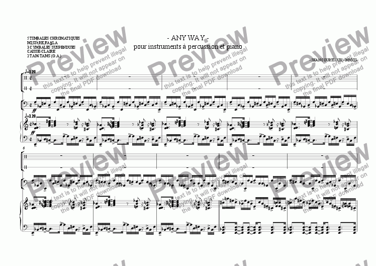 page one of - ANY WAY - pour instruments à percussion et piano