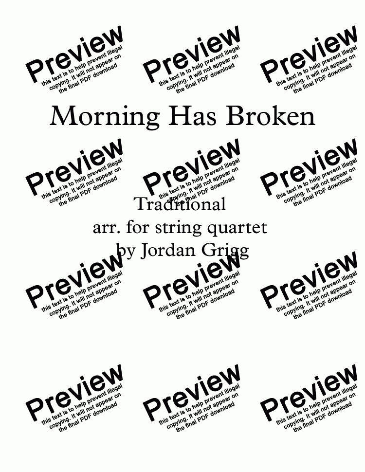 page one of Morning Has Broken Trad. arr. for String Quartet