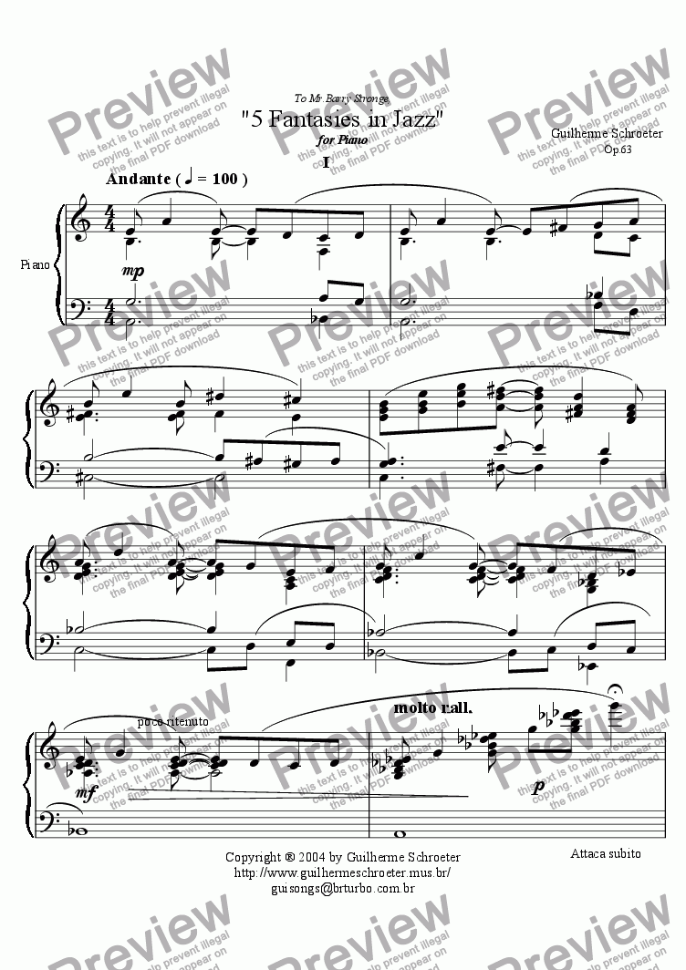 page one of 5 Fantasies in jazz for Piano Op.63 (Dedicated to Mr.Barry Stronge