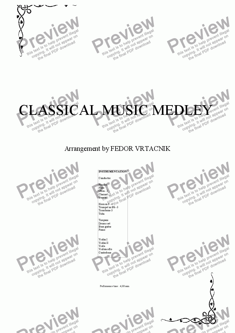 page one of CLASSICAL MUSIC   MEDLEY