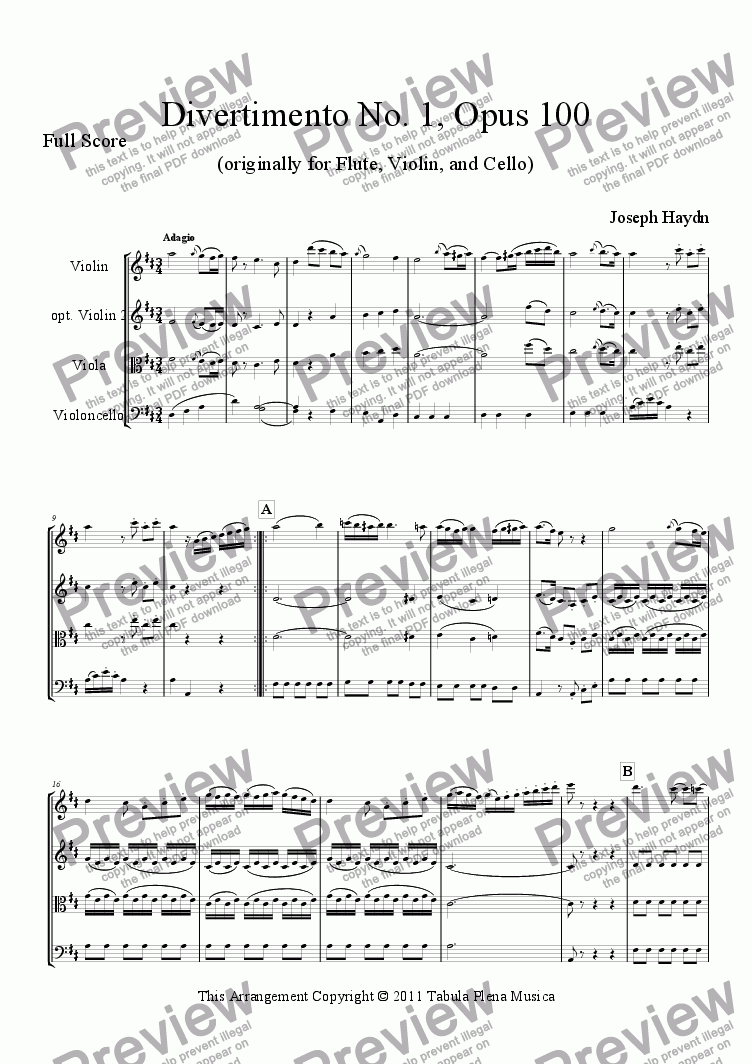 page one of Divertimento No. 1, Opus 100