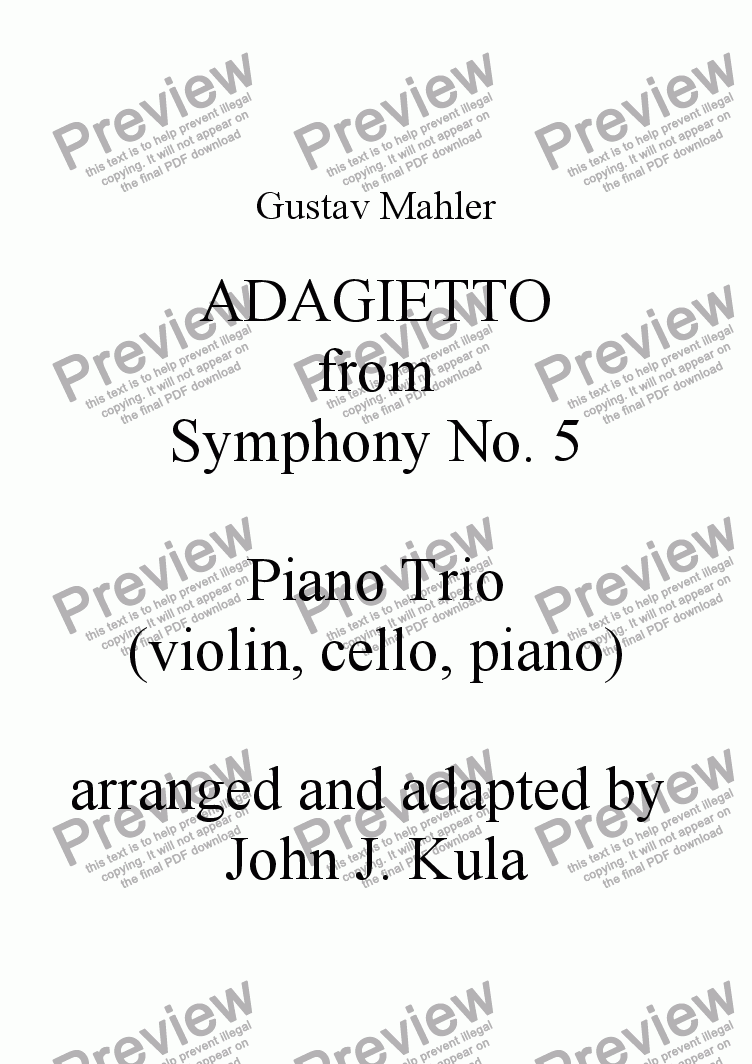 page one of Adagietto - Mahler - Piano Trio