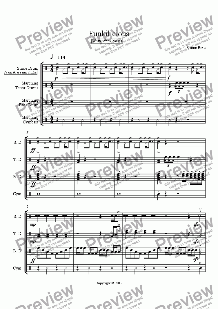 page one of Funkilicious-Marching Band Cadence