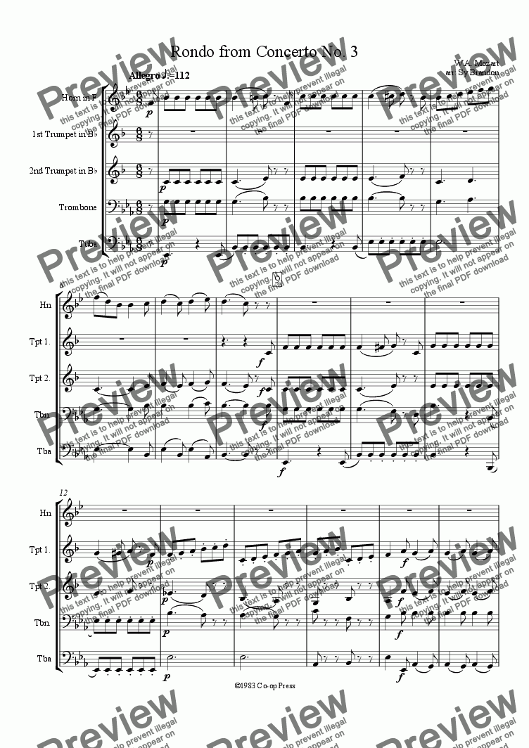 page one of Rondo from Horn Concert No. 3ASALTTEXT