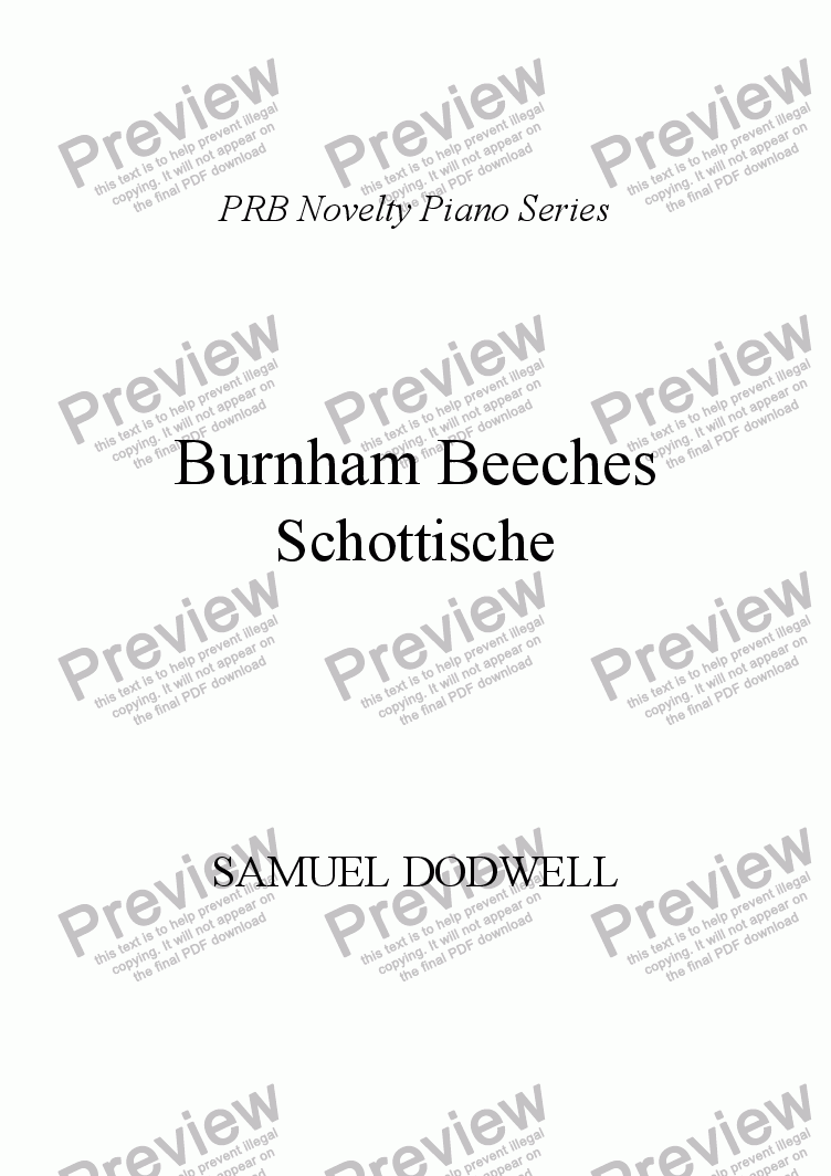 page one of PRB Novelty Piano Series: Burnham Beeches