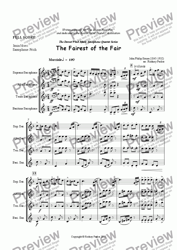 page one of The Fairest of the Fair arr for Saxophone Quartet