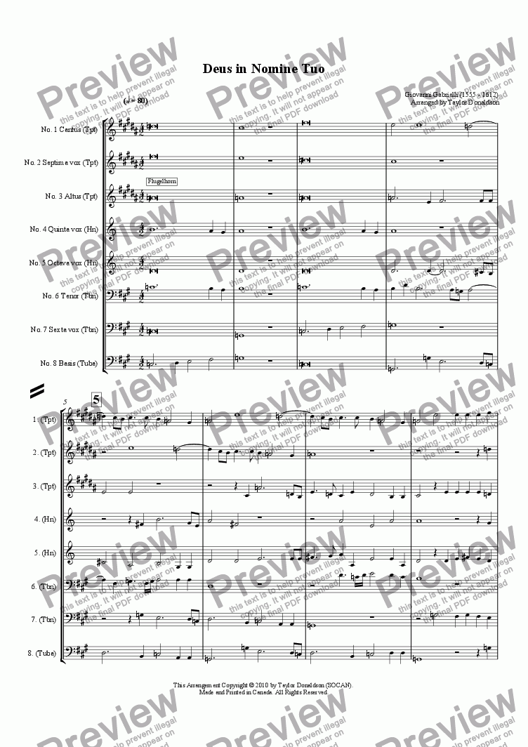 page one of Deus in Nomine Tuo (8-part Brass Choir)