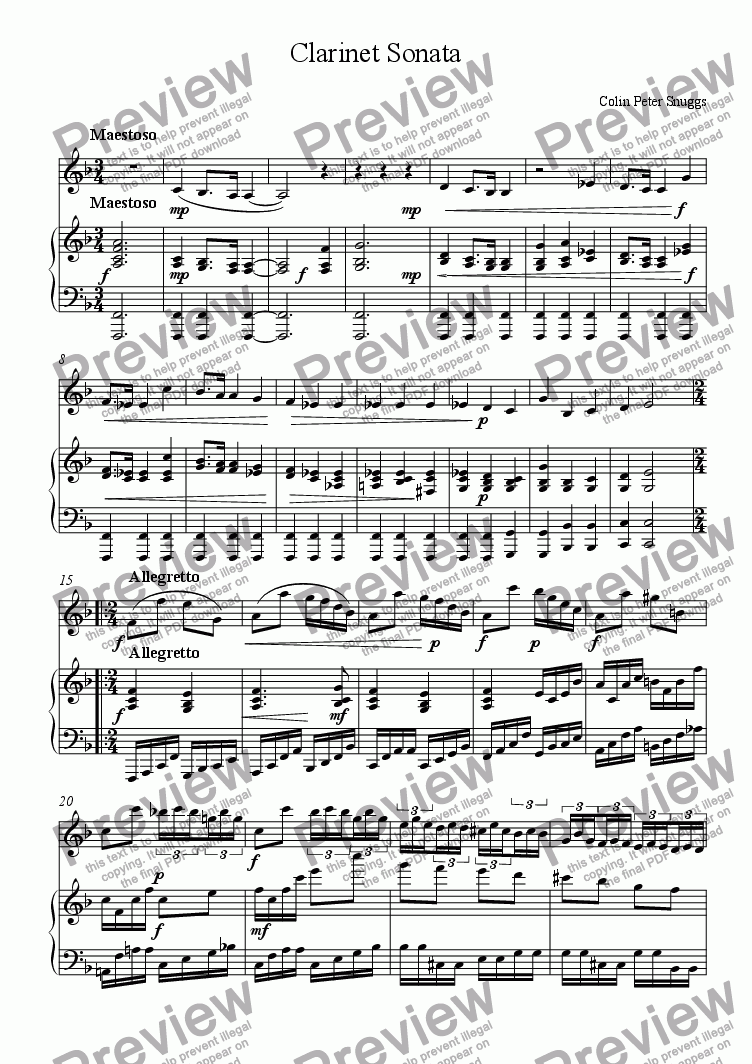page one of Clarinet SonataASALTTEXT