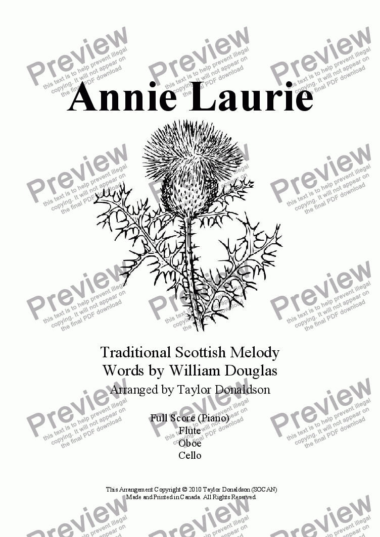 page one of Annie Laurie (Flute/Oboe/Cello/Piano)ASALTTEXT