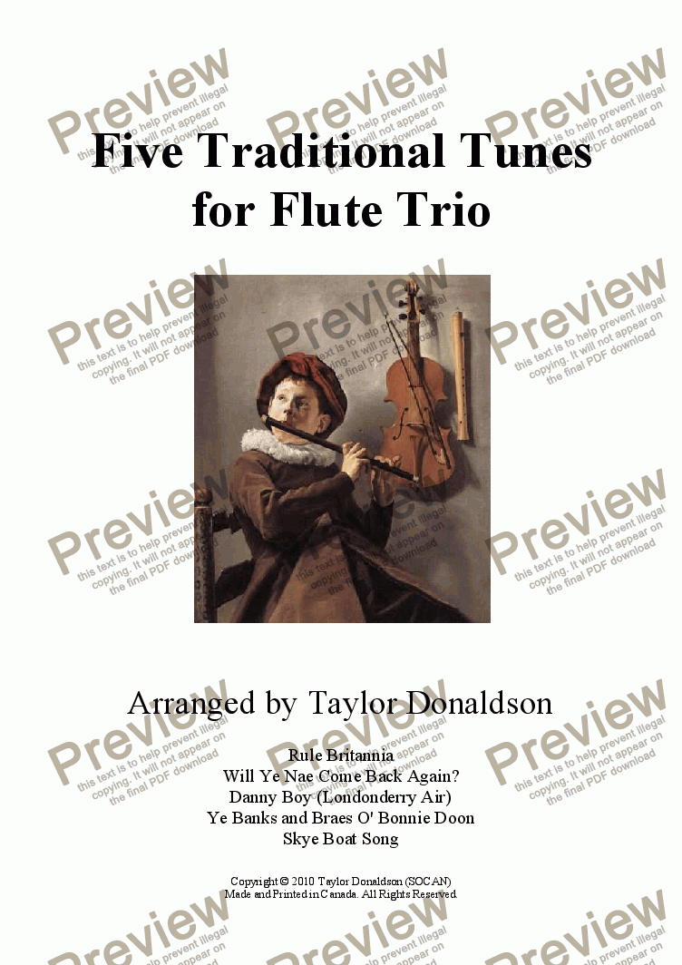 page one of Five Traditional Tunes for Flute Trio