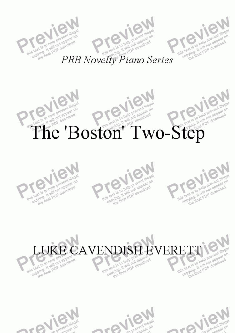 page one of PRB Novelty Piano Series: The 'Boston' Two-Step