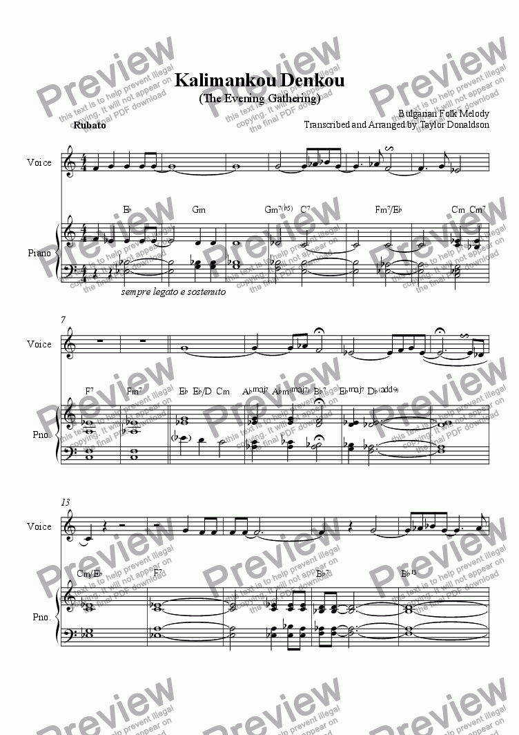 page one of Kalimankou Denkou (Voice/Piano)