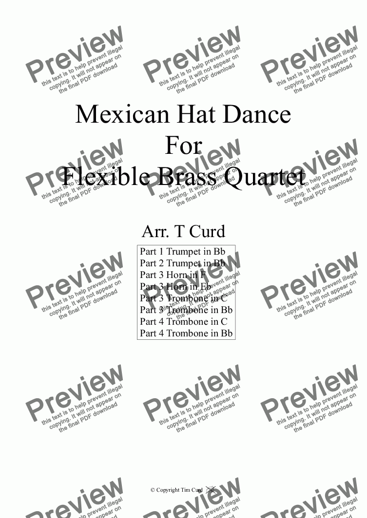 page one of Mexican Hat Dance. For Flexible Brass QuartetASALTTEXT