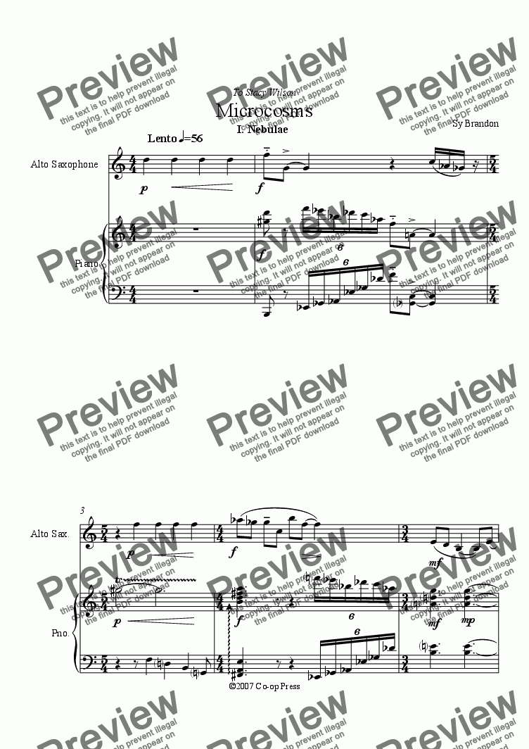 page one of Microcosms for Alto Saxophone and Piano