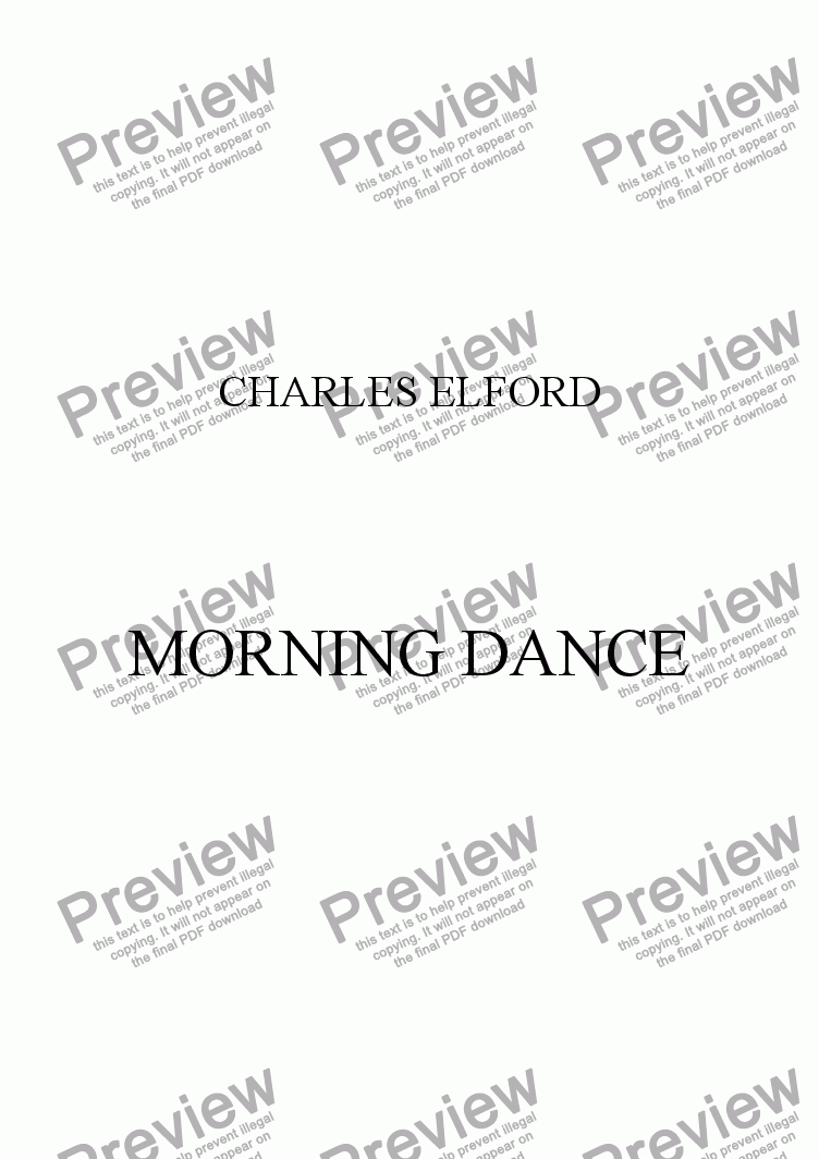 page one of MORNING DANCE