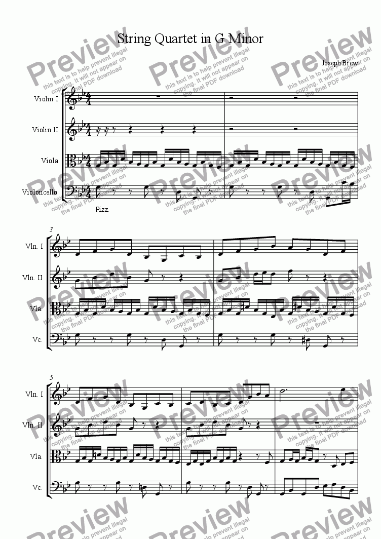 page one of String Quartet in G MinorASALTTEXT