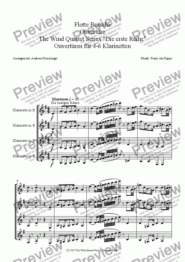 page one of Overture, Flotte Bursch