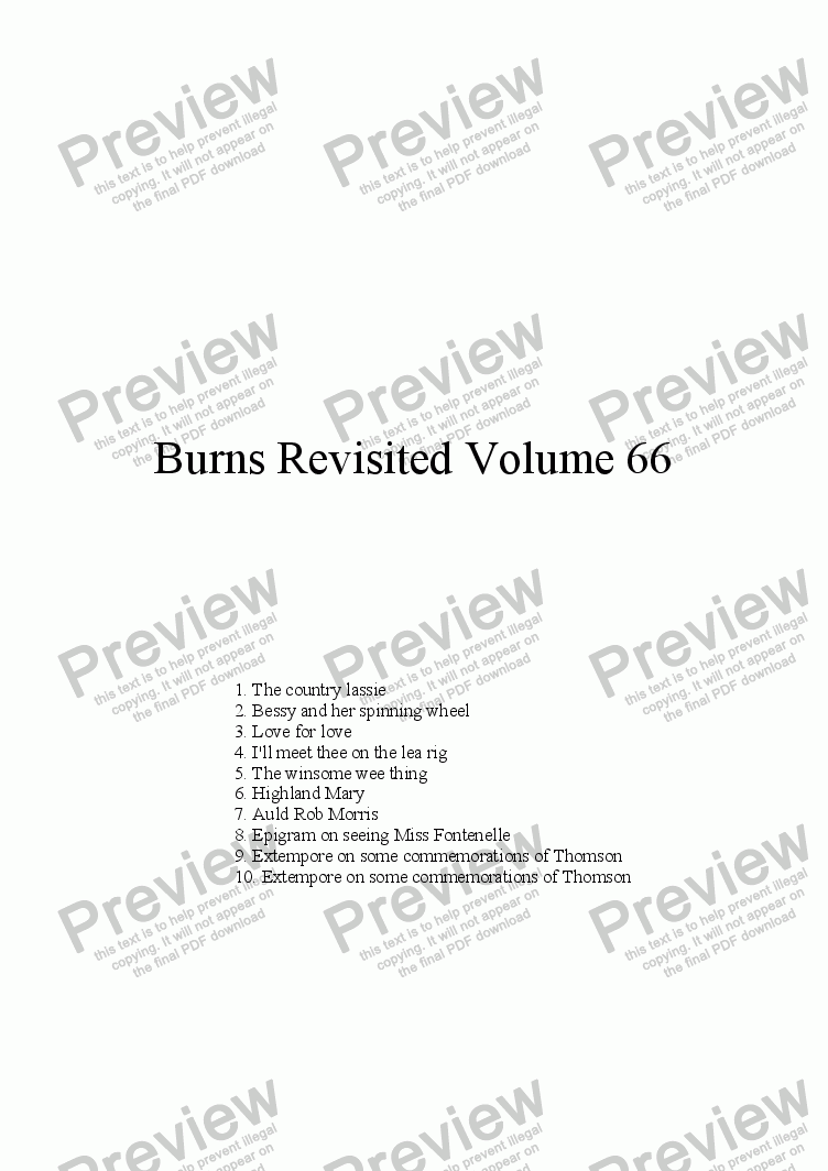 page one of Burns Revisited Volume 66