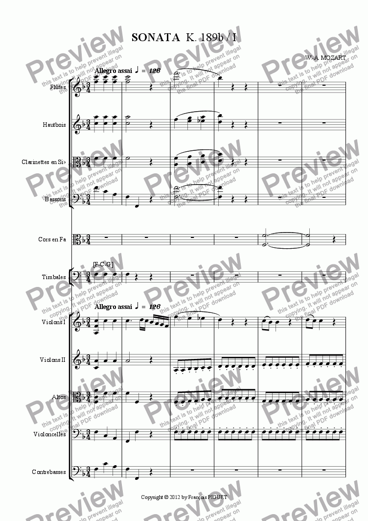 page one of SONATA  K. 189b / I