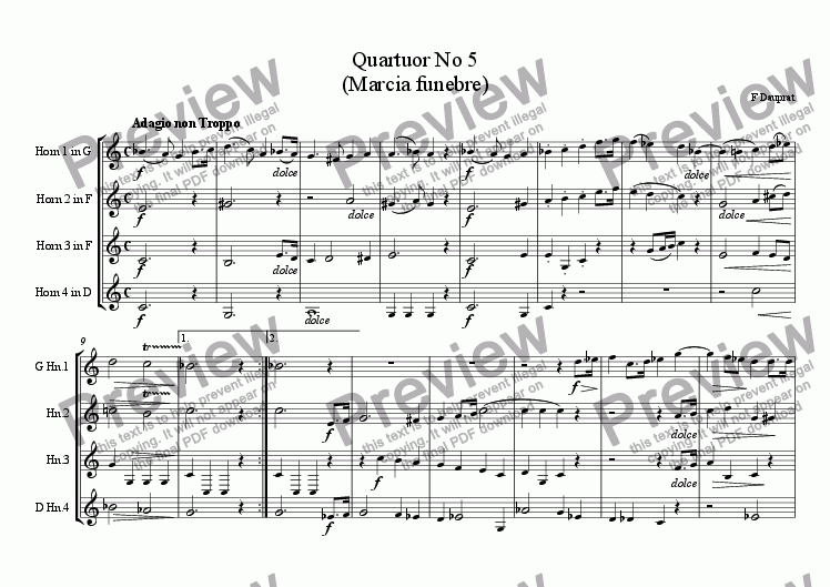page one of DAUPRAT: Horn Quartet No 5 (Marcia funebre)