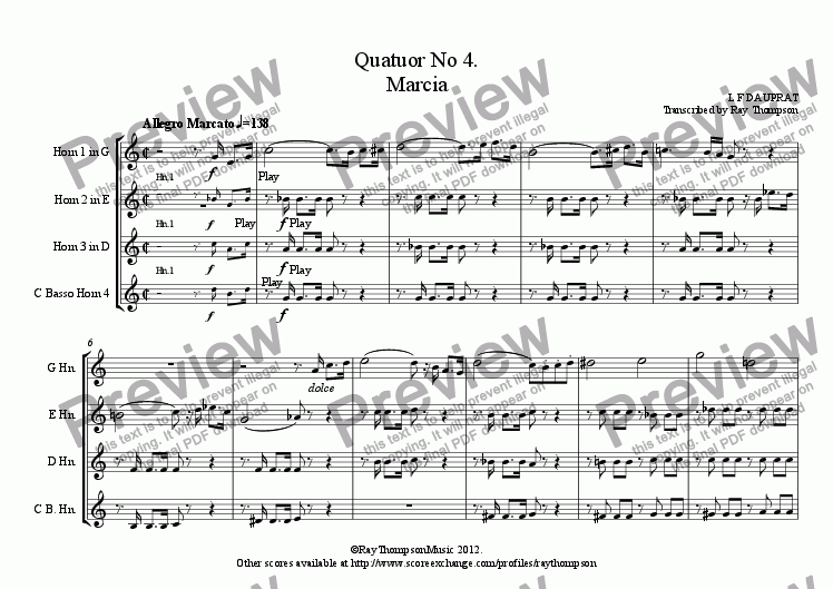 page one of DAUPRAT: Horn Quartet No 4. Marcia (March)