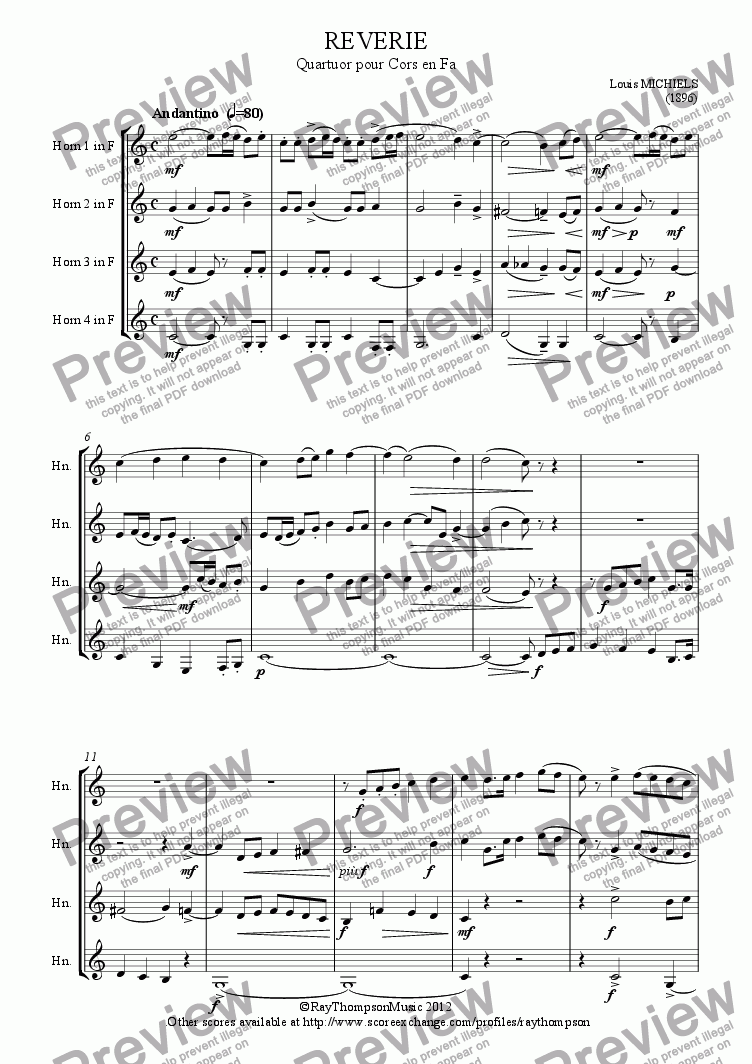page one of Reverie (Horn Quartet)ASALTTEXT