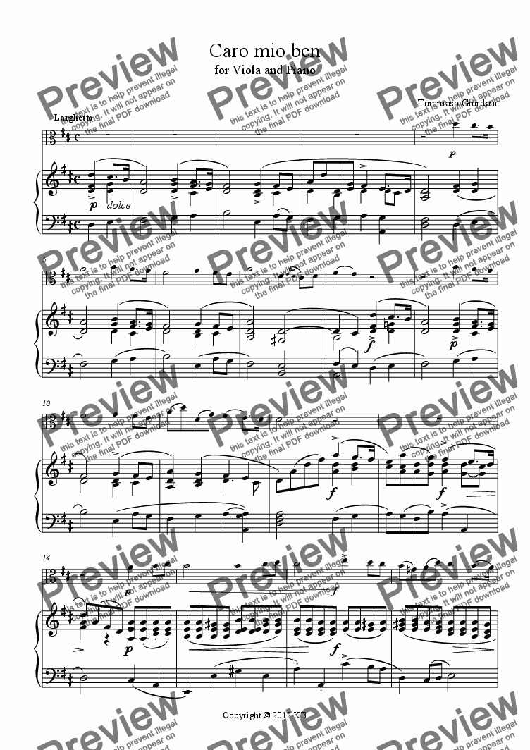 page one of Caro mio ben - for Viola and Piano