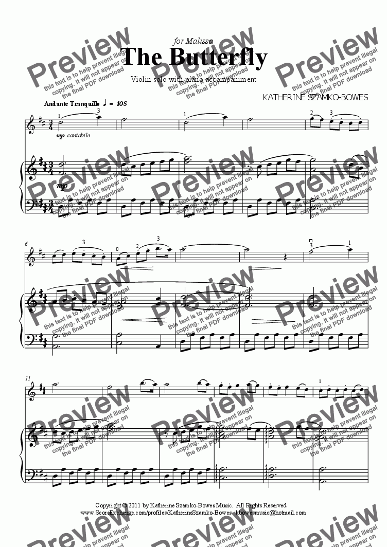 page one of The Butterfly (violin solo)