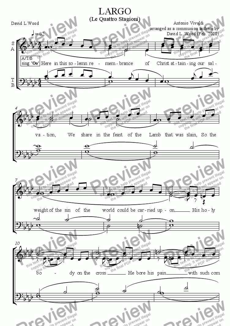 page one of Largo (Winter) arranged for SATB choir