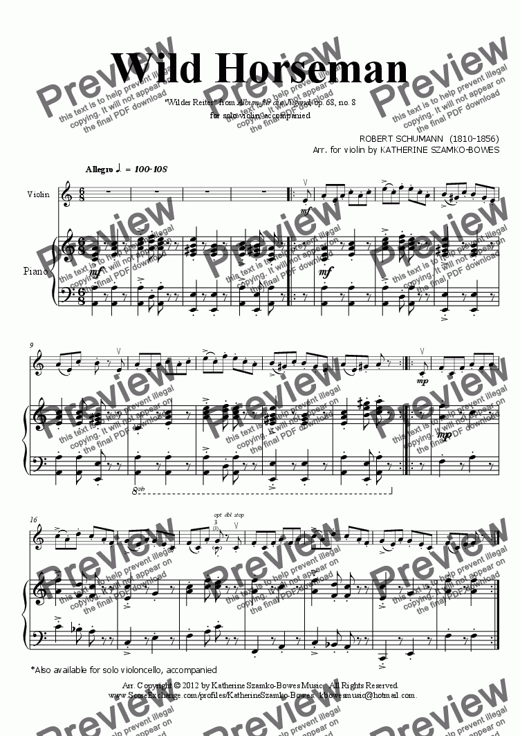 page one of Wild Horseman (violin solo)